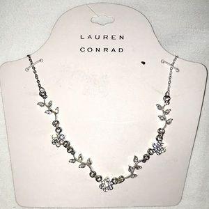 LC Lauren Conrad Silver Stone Floral Leaf Necklace